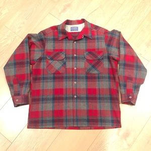 Vtg Pendleton plaid red men's large Lng Slv btn